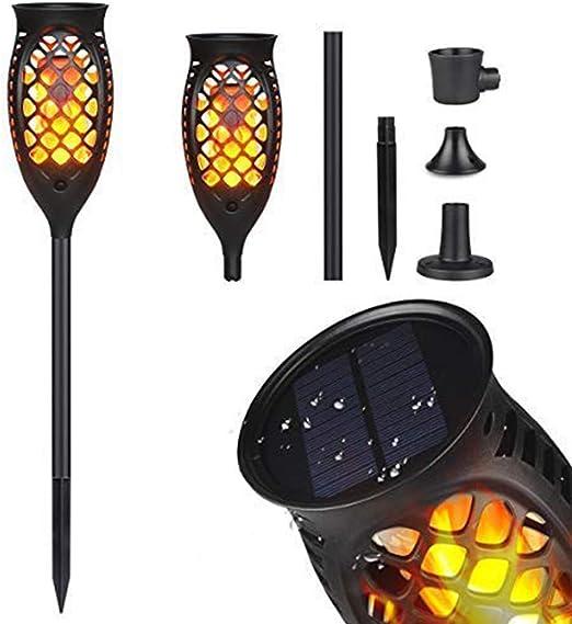 Antorcha solar de la llama, en-tierra luces de jardín-luces de la antorcha solar con llamas parpadeantes, iluminación de llama danzante 96 LED anochecer a amanecer parpadeando antorchas luces (2Pack): Amazon.es: Hogar