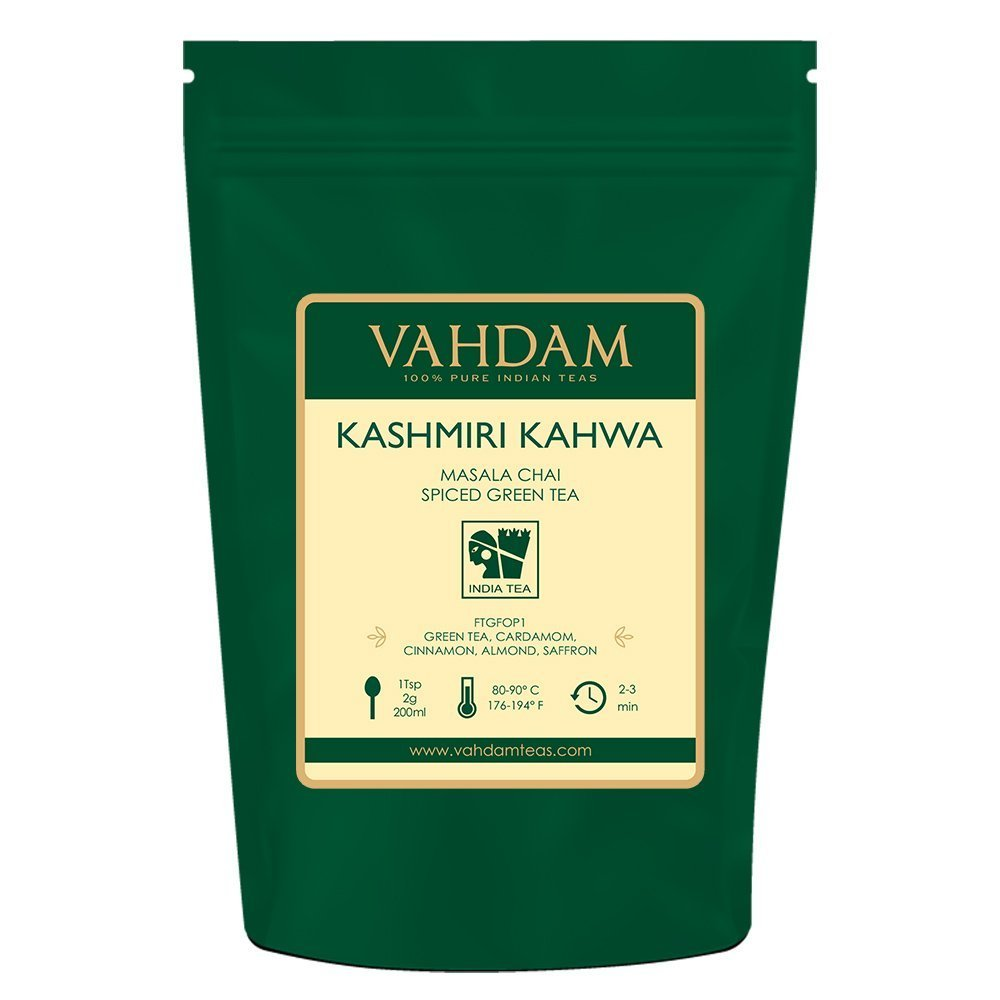 VAHDAM,  Kashmiri Kahwa Tea Loose Leaf (50 Cups) | 100% NATURAL SPICES | Masala Chai Tea | Green Tea, Cinnamon, Cardamom, Almond, Saffron | Spiced Chai Tea Loose Leaf | Brew Hot or Iced Tea | 3.53oz by VAHDAM