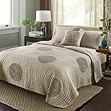 HNNSI Cotton 3D Floral Brown Quilt Bedspread Sets King Size, Comfy Cotton Patchwork Design Comforter Coverlet Bedding Sets, Fall & Winter Sheet, Coffee (Champagne))