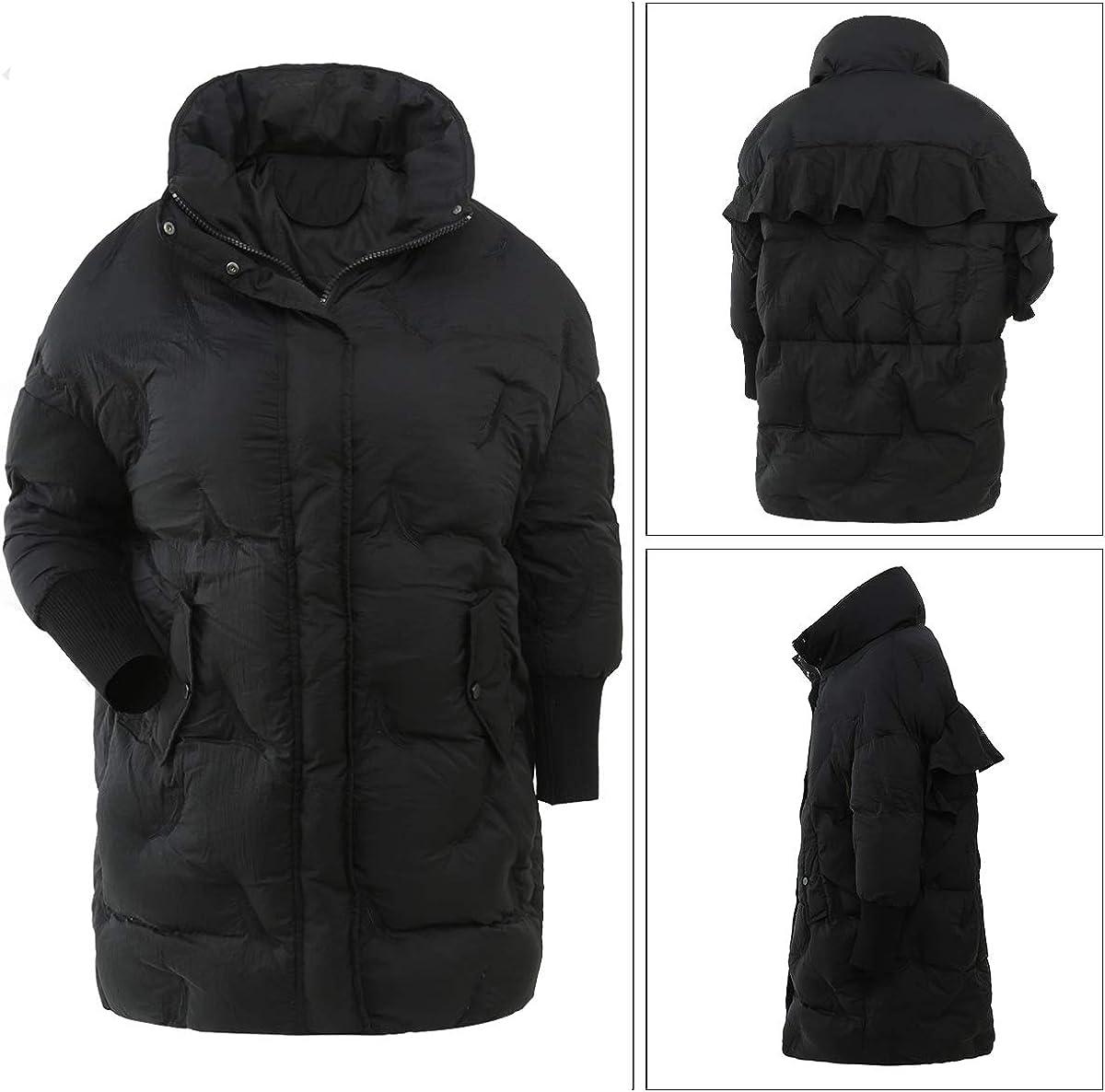 Taschland Cappotto Invernale da Donna Trapuntata Donna Giacca Piumino da Donna alla Moda Nero-706