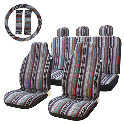 (10pc Stripe Multi-Color Seat Cover Baja Saddle Blanket Weave Universal Bucket Seat Cover Fit for Cars & Vans with Steering Wheel Cover)
