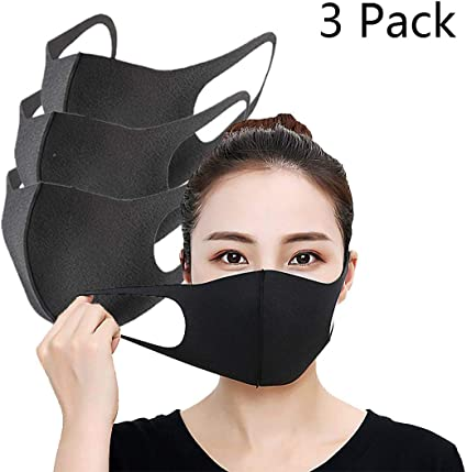 Silk Mouth Dust Woman And Washable 3 Breathable For Mask Anti-uv black Man Pack Anti-dust Cover