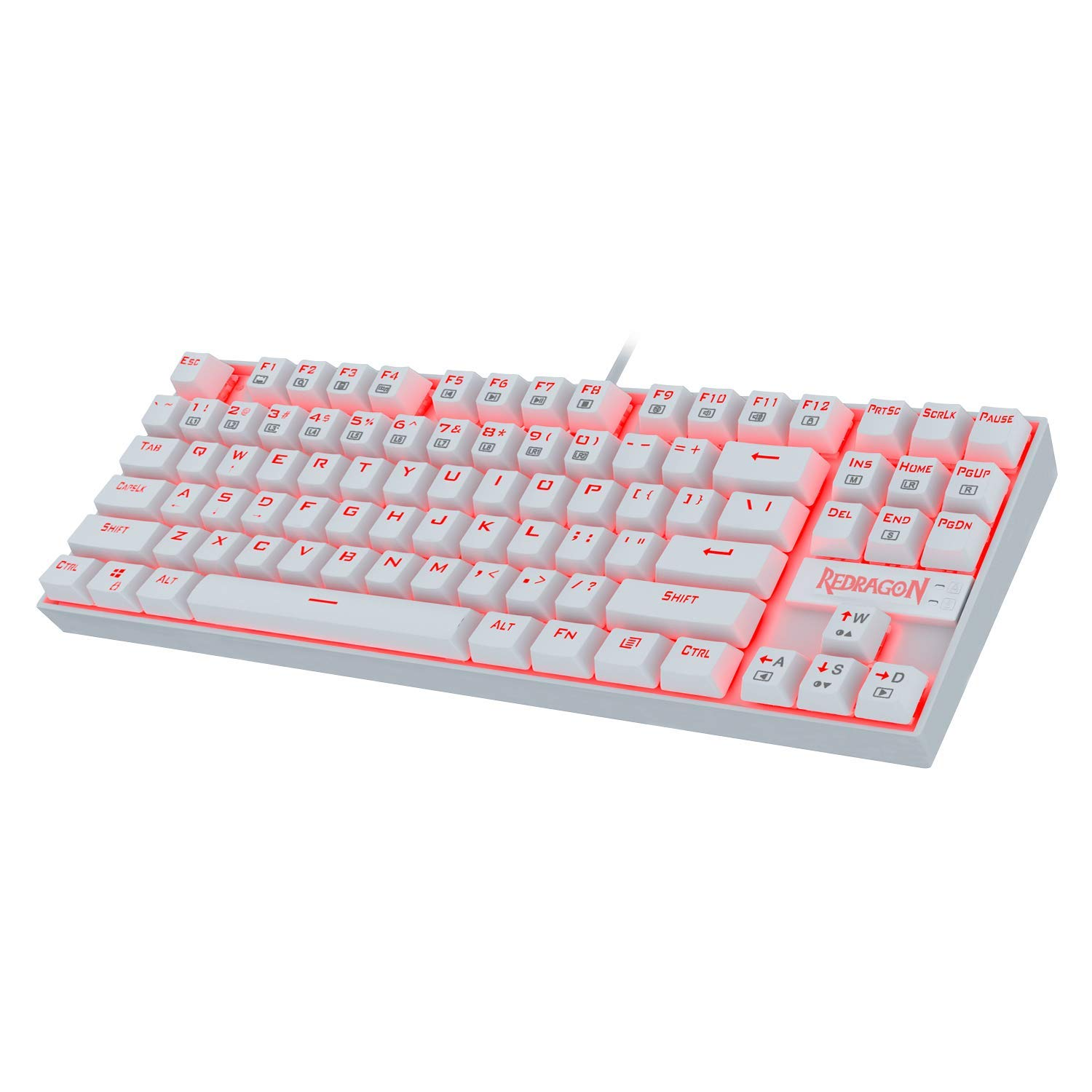 Redragon K552 Mechanical Gaming Keyboard 60% Compact 87 Key Kumara Wired Cherry MX Blue Switches Equivalent for Windows PC Gamers (RED Backlit White)
