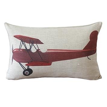 vintage red airplane print rectangular decorative pillows 30cmx45cm lumbar pillows linen throw pillows - Decorative Lumbar Pillows