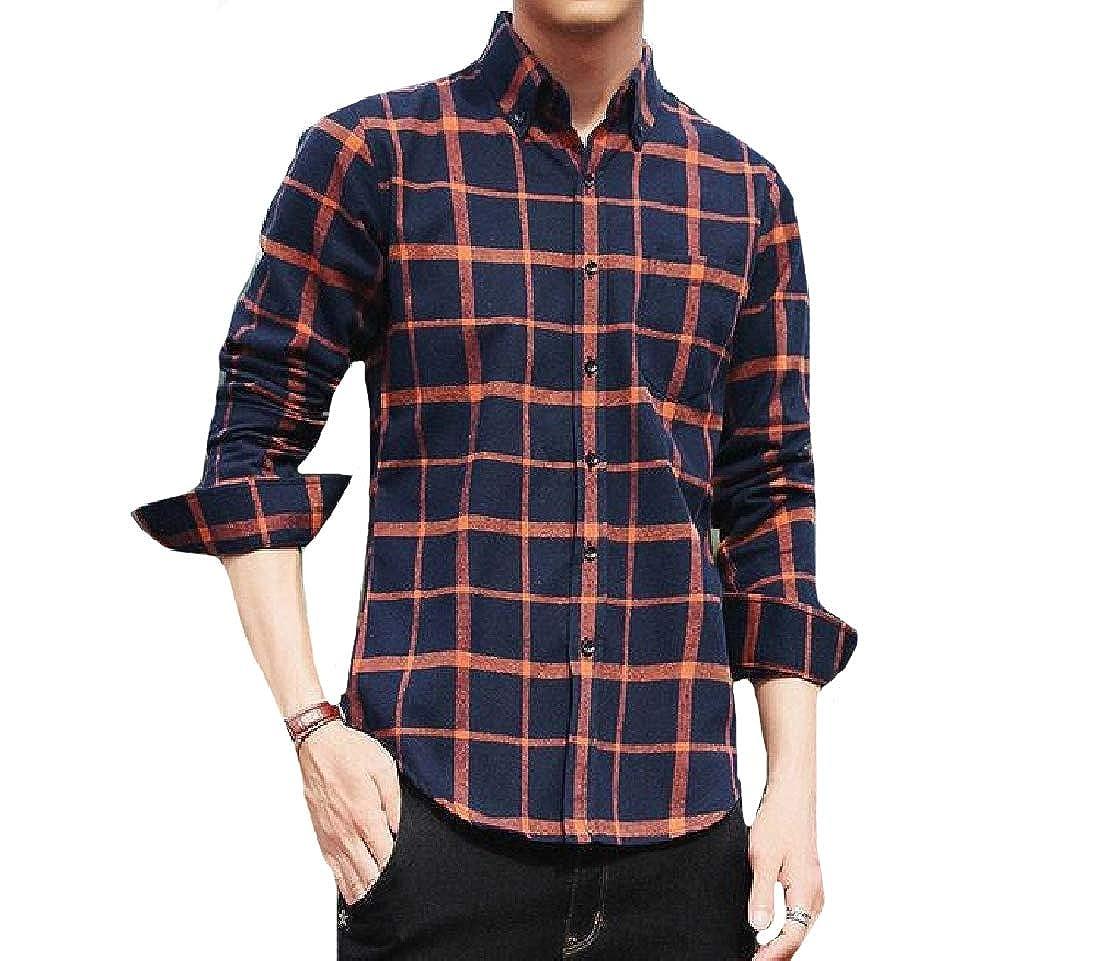Yusky Mens Buttoned Long Sleeve Fashion Classic T-Shirts