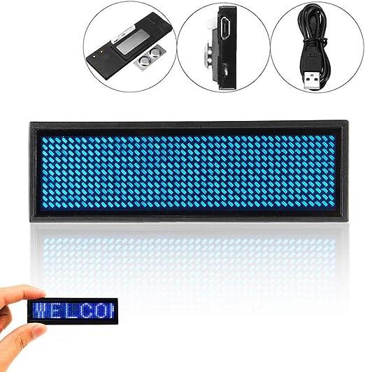 Restanrant Mini LED Digital Programmable Scrolling Name Message Tag Badge Sign