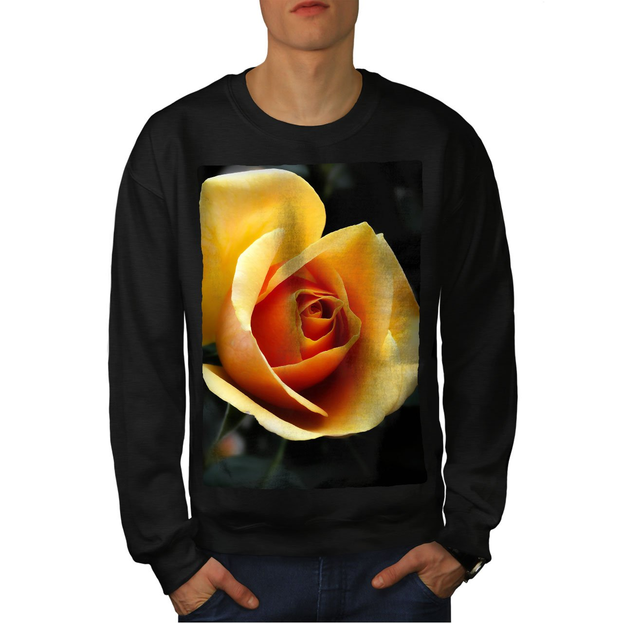 wellcoda Yellow Rose Photo Mens Sweatshirt Flower Casual Jumper