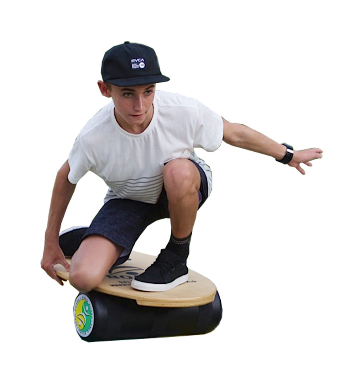 "INDO BOARD Original Balance Board with 6.5"" Roller and 30"" X 18"" Non-Slip Deck – Natural Wood Design by INDO BOARD (Image #9)"