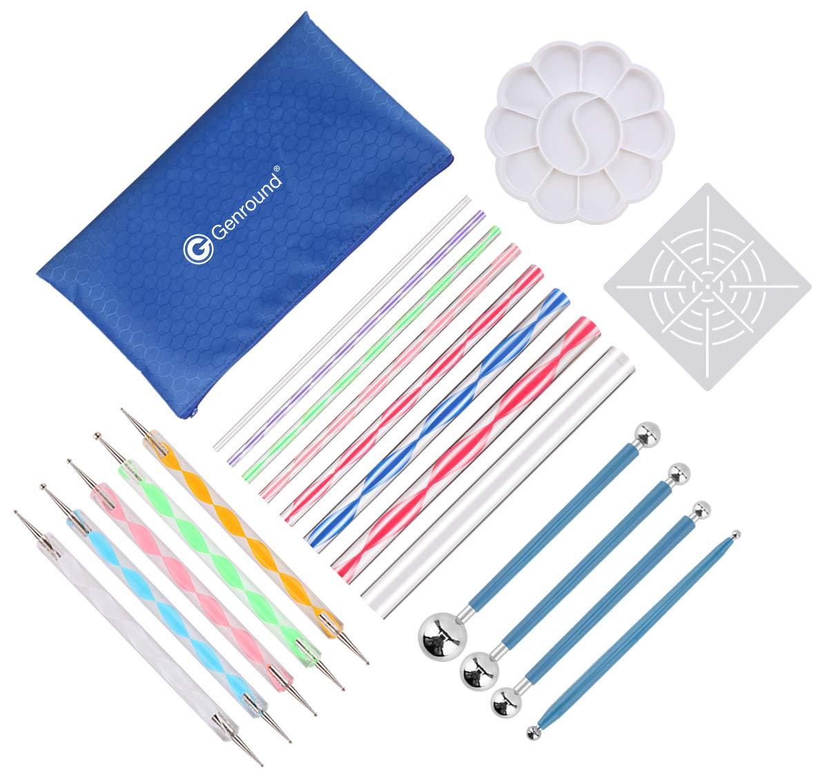 20pcs Genround Mandala che punteggia gli strumenti 4 attrezzi per stilo set di strumenti che punteggia larte 1stencil di mandala +1 pallet per pittura 8 aste acriliche 5 penne che punteggiano