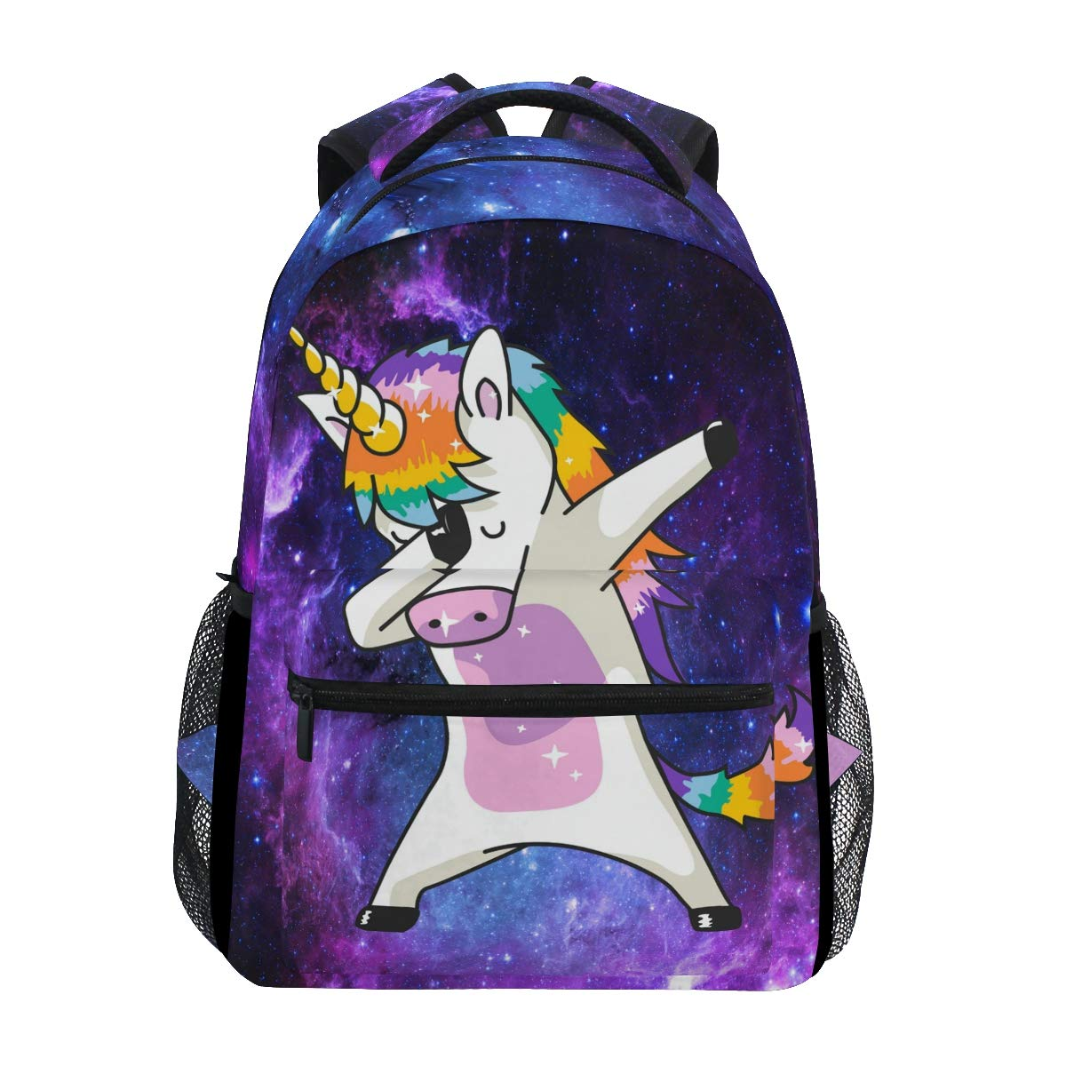 Wamika Dabbing Unicorn Backpacks Nebula Galaxy Laptop Book Bag Cute Funny Casual Extra Durable Backpack Lightweight Travel Sports Day Pack for Men Women by Wamika