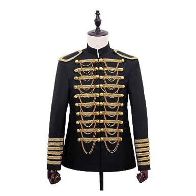 7870b9c013d2 Mens Hussar Jacket Artillery Tunic Military Uniform Drummer Steampunk Top  Coat Black