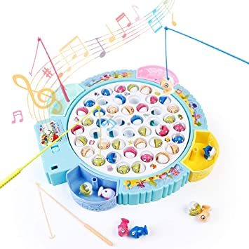 Dinfun Musical Juego de Pesca - Juguete de Pescar Mesa con 26 Peces y 4 Cañas de Pescado Regalos para 3 4 5 Niños: Amazon.es: Juguetes y juegos