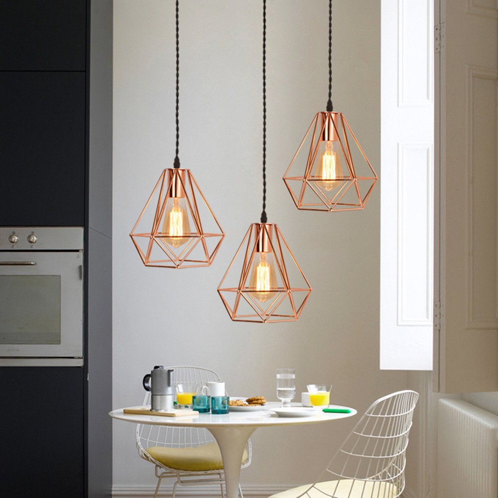EFINEHOME Vintage Industrial Rose Gold Pyramid Metal Cage Pendant Light Hard-Wired 1-Light Ceiling Lamp Loft Rustic Home Decoration