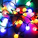 G40 Globe Decorative String Lights Colored,Longer Life Up to Hours,17 Ft 25 LED Commercial Grade Christmas Lights for Indoor Outdoor Use,2 Fuses Include-- MAXINDA