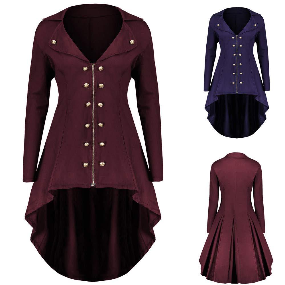 STORTO Womens Punk Long Coat,Button Zipper Tunic Jacket Plus Size Irregular Hem Coat