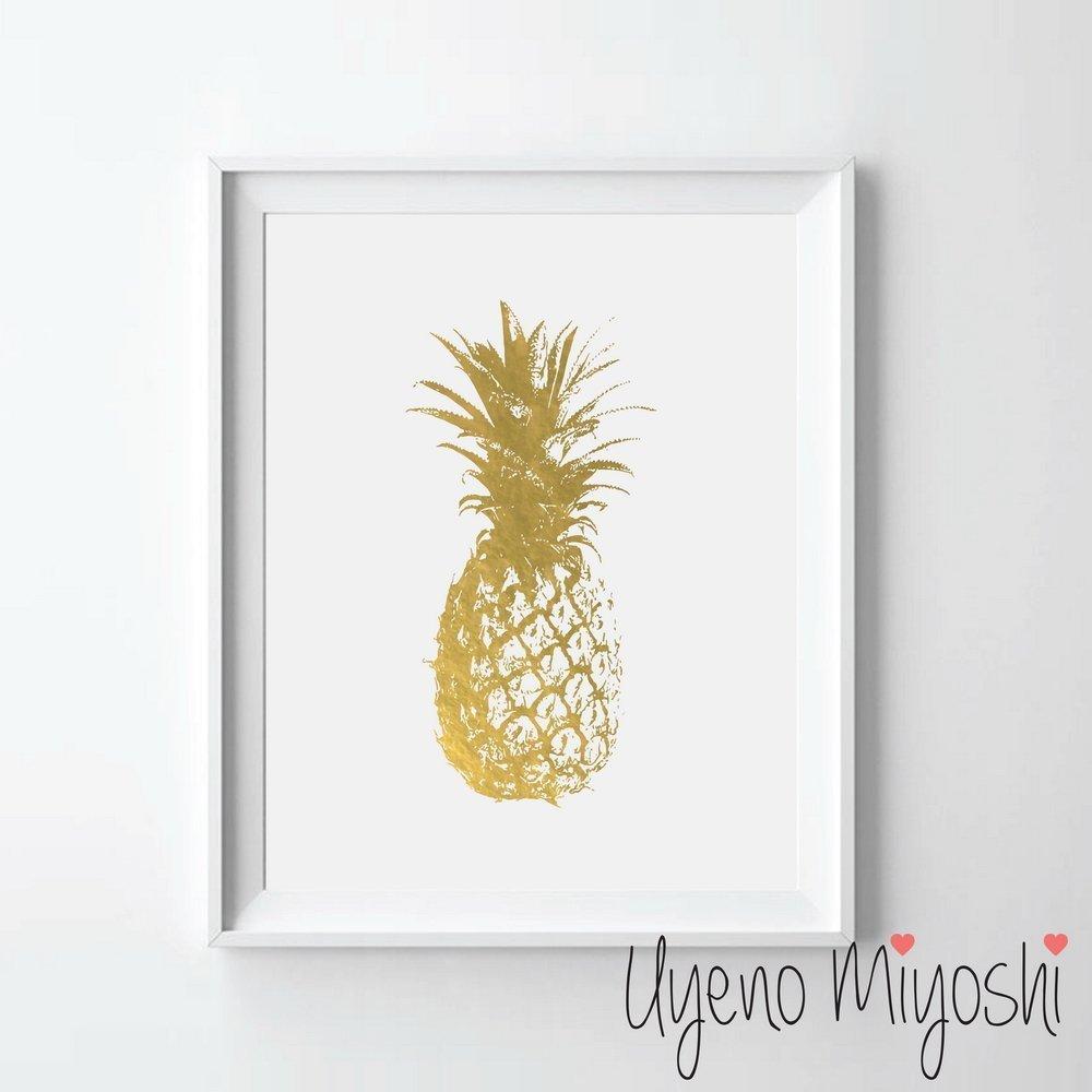Cuadro Uyeno Miyohsi de Piña dorada 20cm x 25.4cm