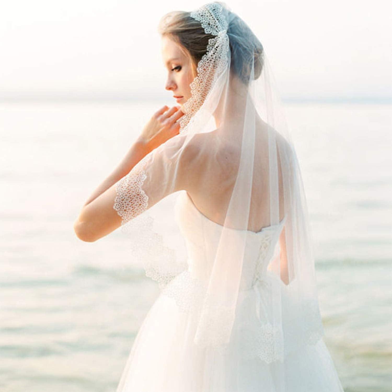 Amazon Com Cjjc Simple Bride Wedding Veil Simple Floral Lace