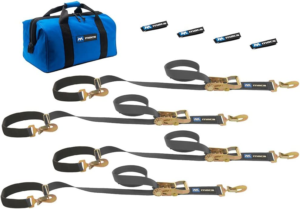 Macs Tie-Downs 511118 Black Super Pack with 8 x 2 Direct Hook Combination Axle Straps Mac/'s Tie-Downs