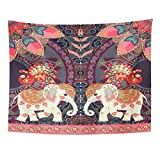 Breezat Tapestry Red Thailand Happy Birthday in Thai Indian Lovely Elephants Peacocks Sun Mandala and Paisley Border Home Decor Wall Hanging for Living Room Bedroom Dorm 60x80 Inches