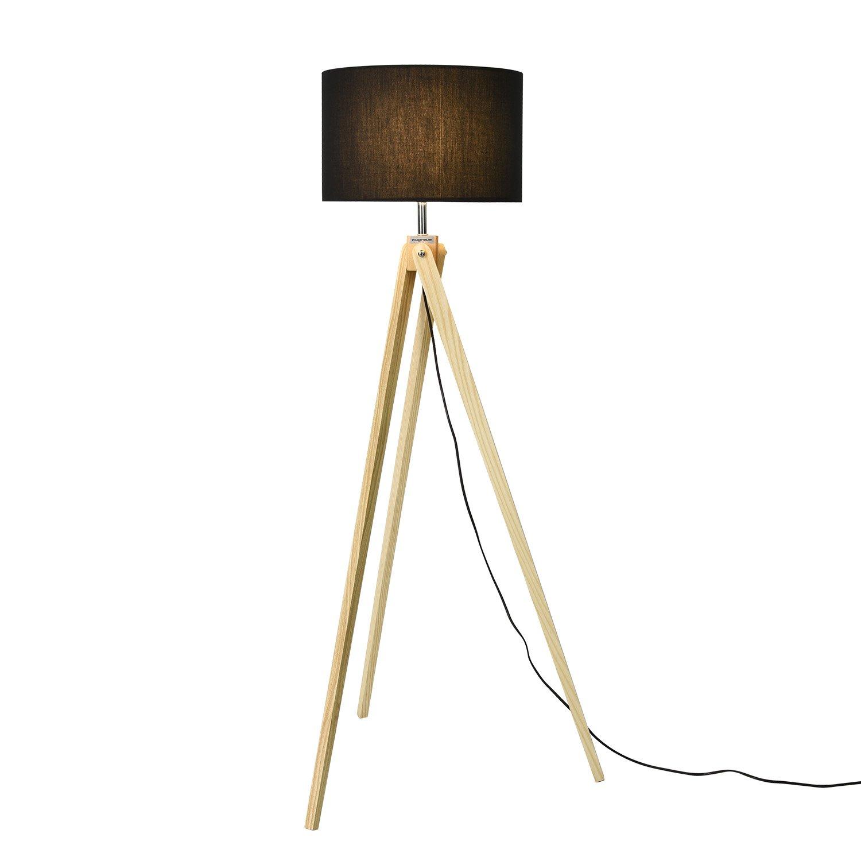 Viugreum Stehleuchte mit reine handgemachte massivholz dreibeine, klassischen Stehlampe mit stoffschirm, Stehlampe für Wohnzimmer Schlafzimmer Büro, moderne Stehleuchte mit 8W Glühbirne (Schwarz)