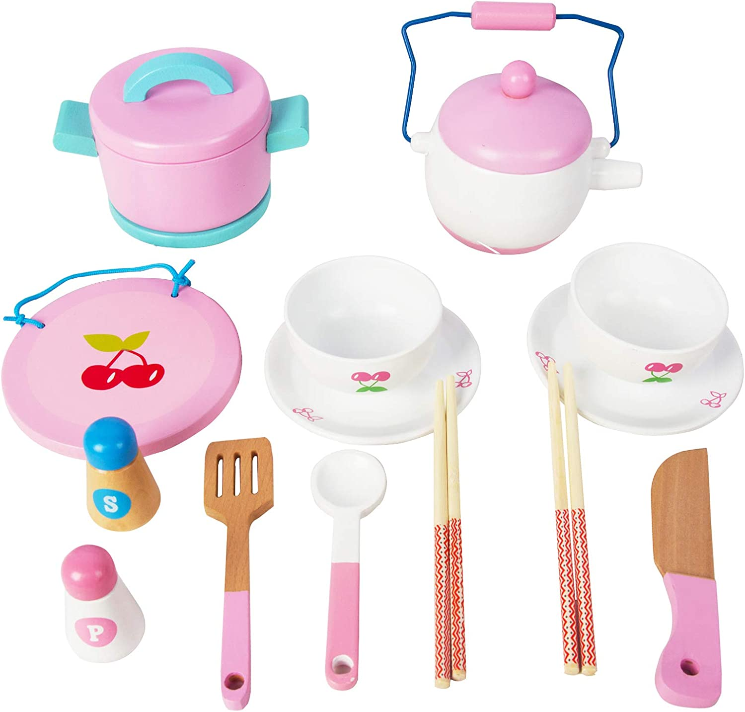 Wooden Tea Set for Little Girls , Pretend Food Play Kitchen Toy for Toddlers Great Pink Kids Tea Party Set Gift for 2 3 4 5 Year Old Girls and Boys