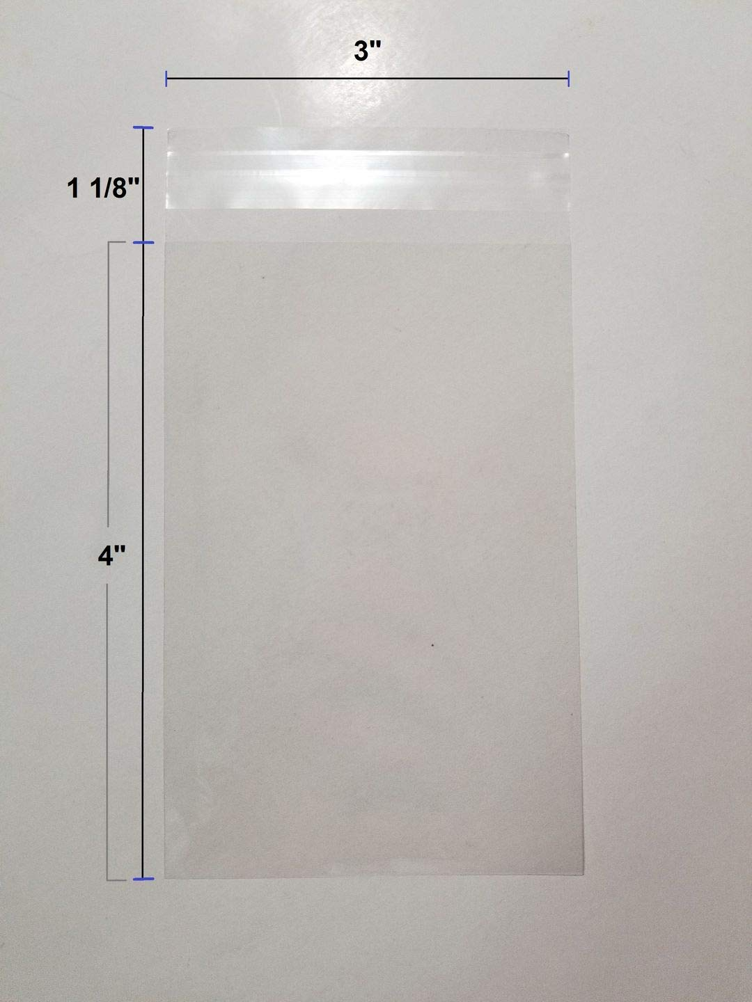 UNIQUEPACKING 100 Pcs 3x4 Crystal Clear Resealable Recloseable Cello/Cellophane Bags