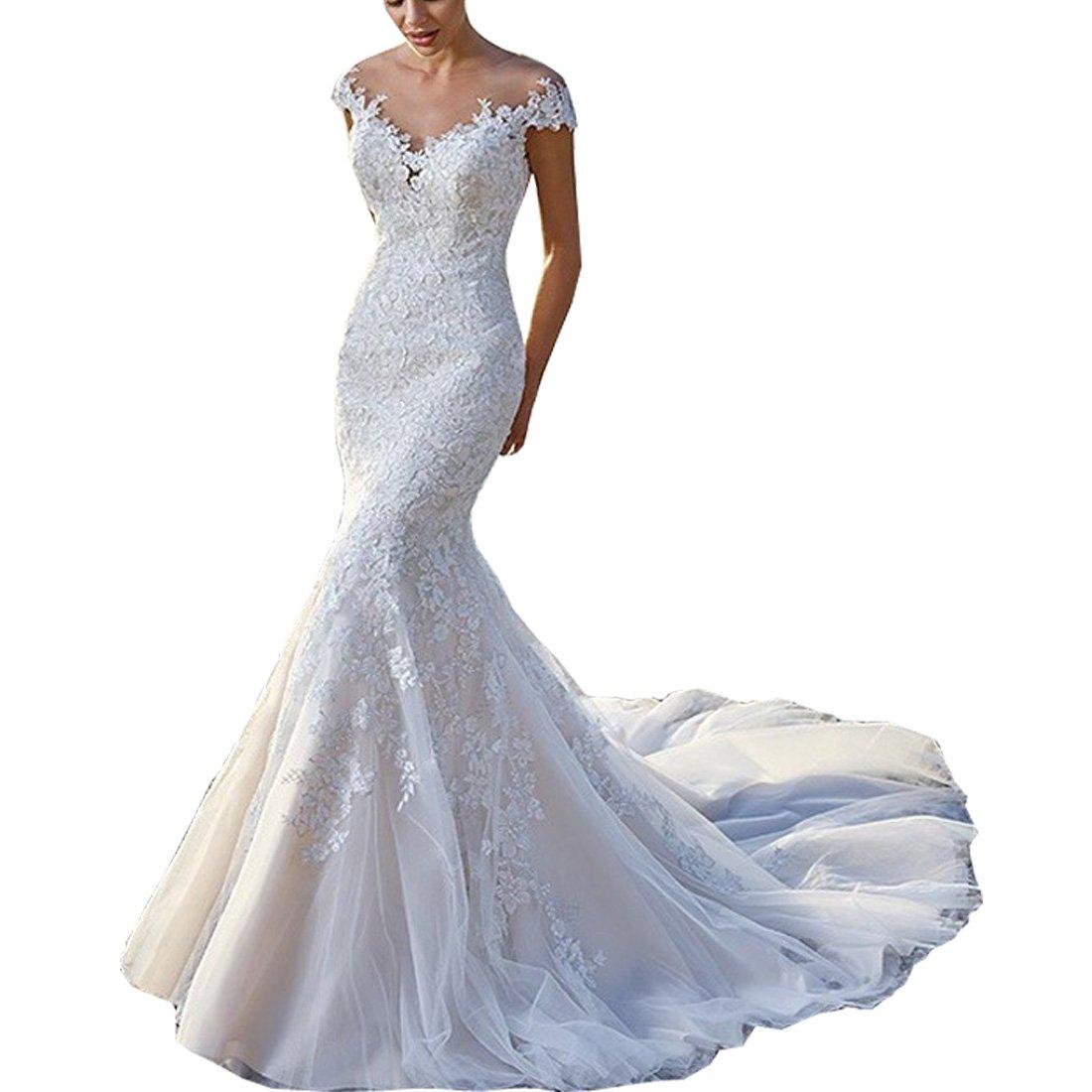 Thrsaeyi Romanticdresses Beautiful Muslim Wedding Dresses Lace Long