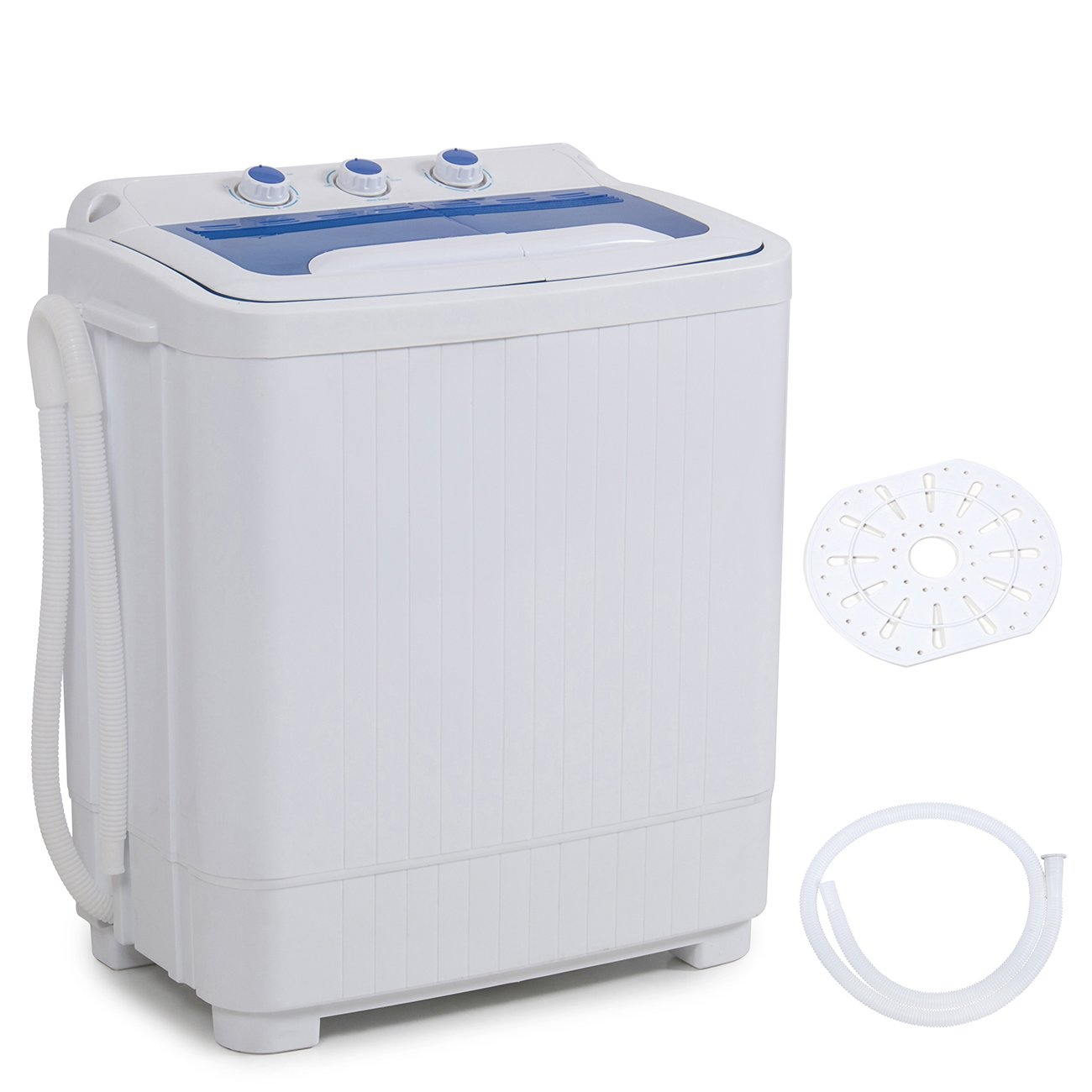 DELLA Mini Electric Washing Machine Home Twin Tub 8.8LBS Portable Compact Washer & Spin Dry Cycle Built-in Pump w/Hose, White 909564-01L