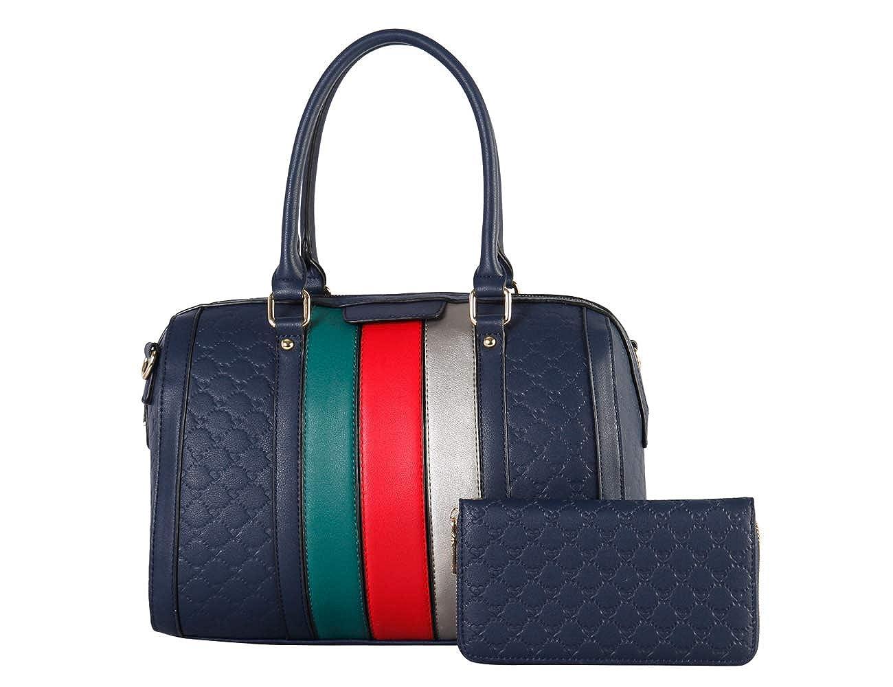 bluee Women's Fashion Handbags Shoulder Bag Designer Satchel Purse Tote Top Handle Bag 2pcs Set with coin Wallets for Ladies Gifts