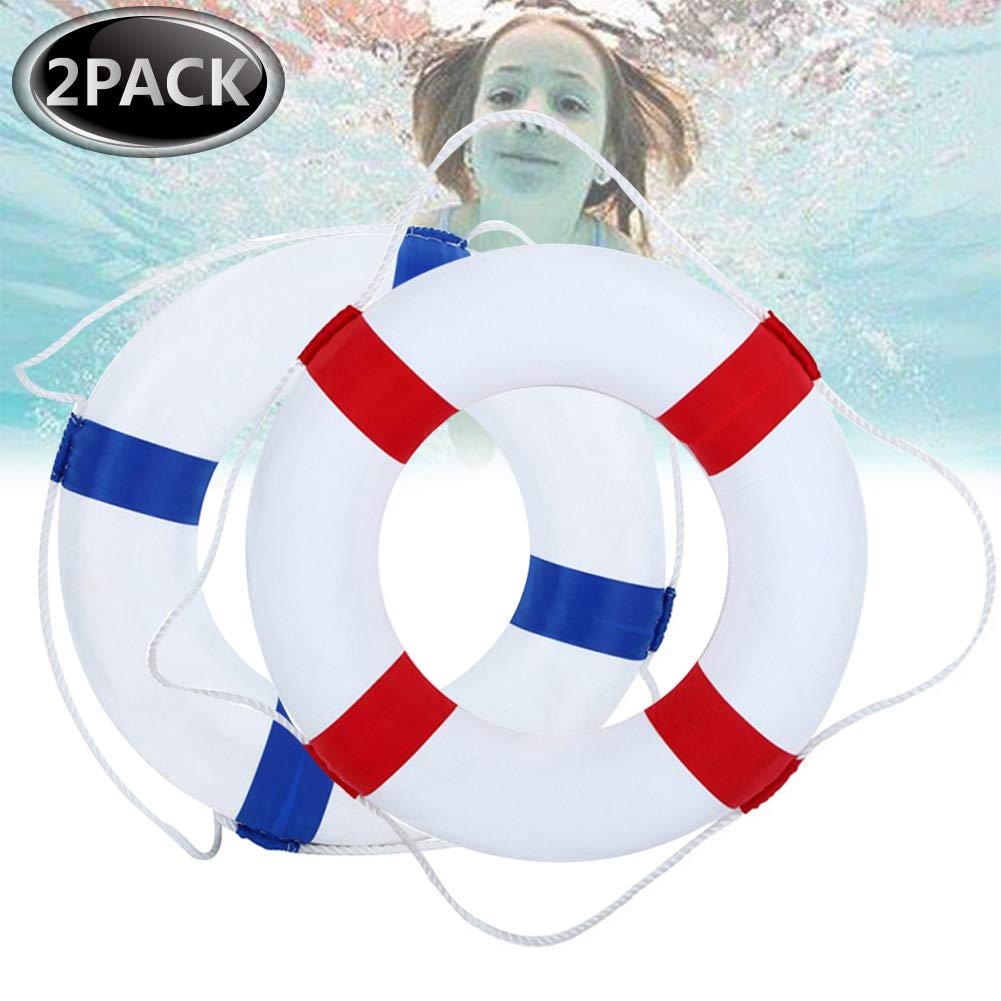 Kriszon 52cm 20.5inch Diameter Welcome Cloth Decorative Life Ring Buoy Home Wall Nautical Decor Safety Life Preserver with Perimeter Rope Blue & Red by Kriszon