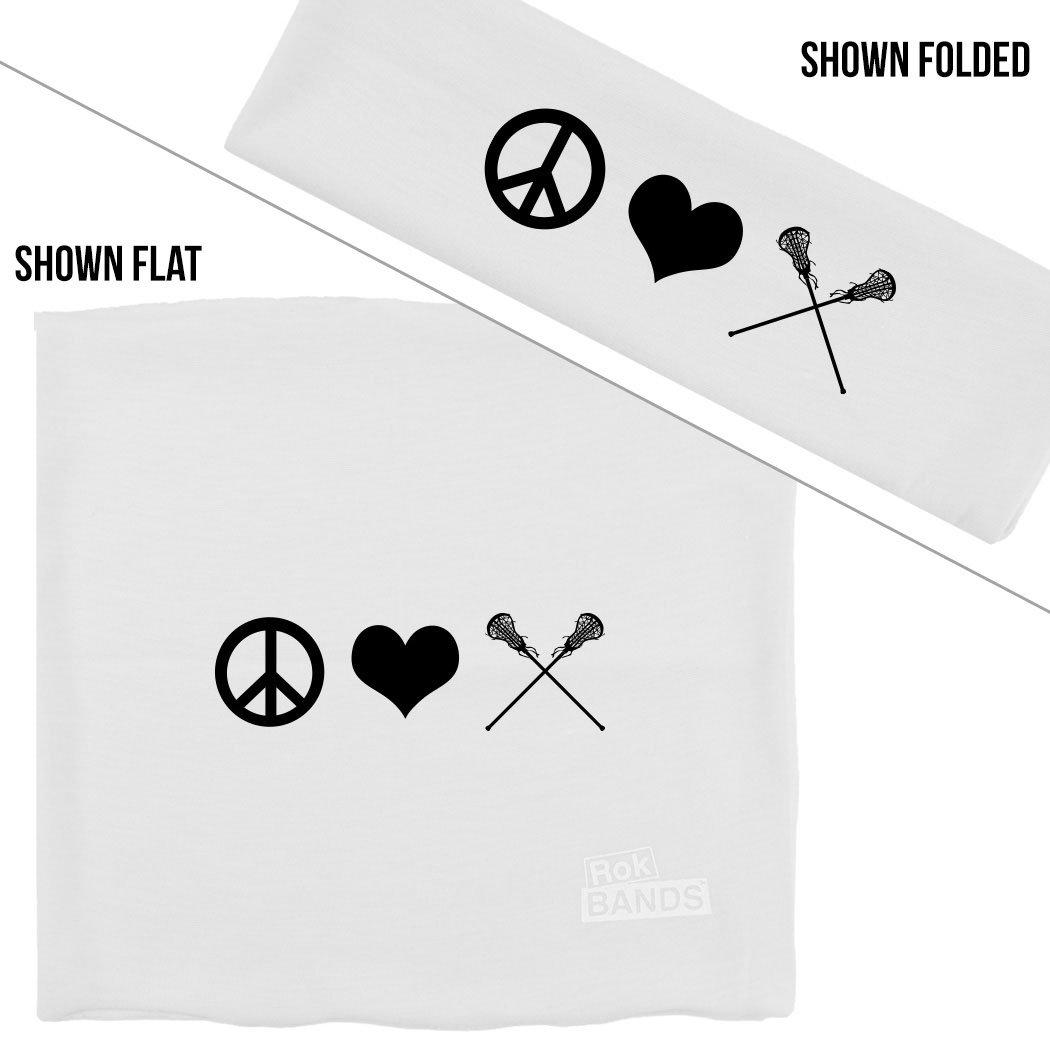 ChalkTalkSPORTS RokBAND Multi-Functional Headband - Peace Love Lacrosse - White by ChalkTalkSPORTS (Image #1)