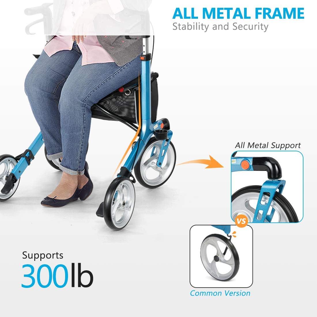 Amazon.com: OasisSpace - Andador de aluminio con ruedas de ...