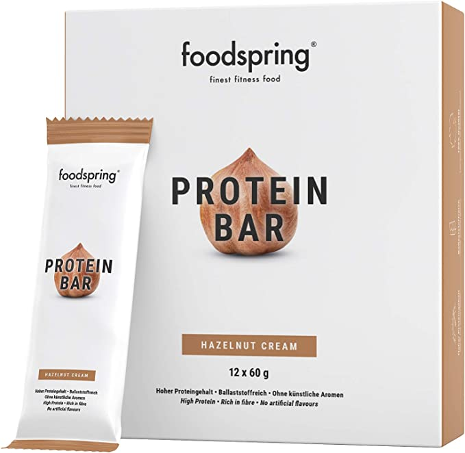 foodspring Barritas de Proteína, Sabor Avellana, Pack de 12 x ...