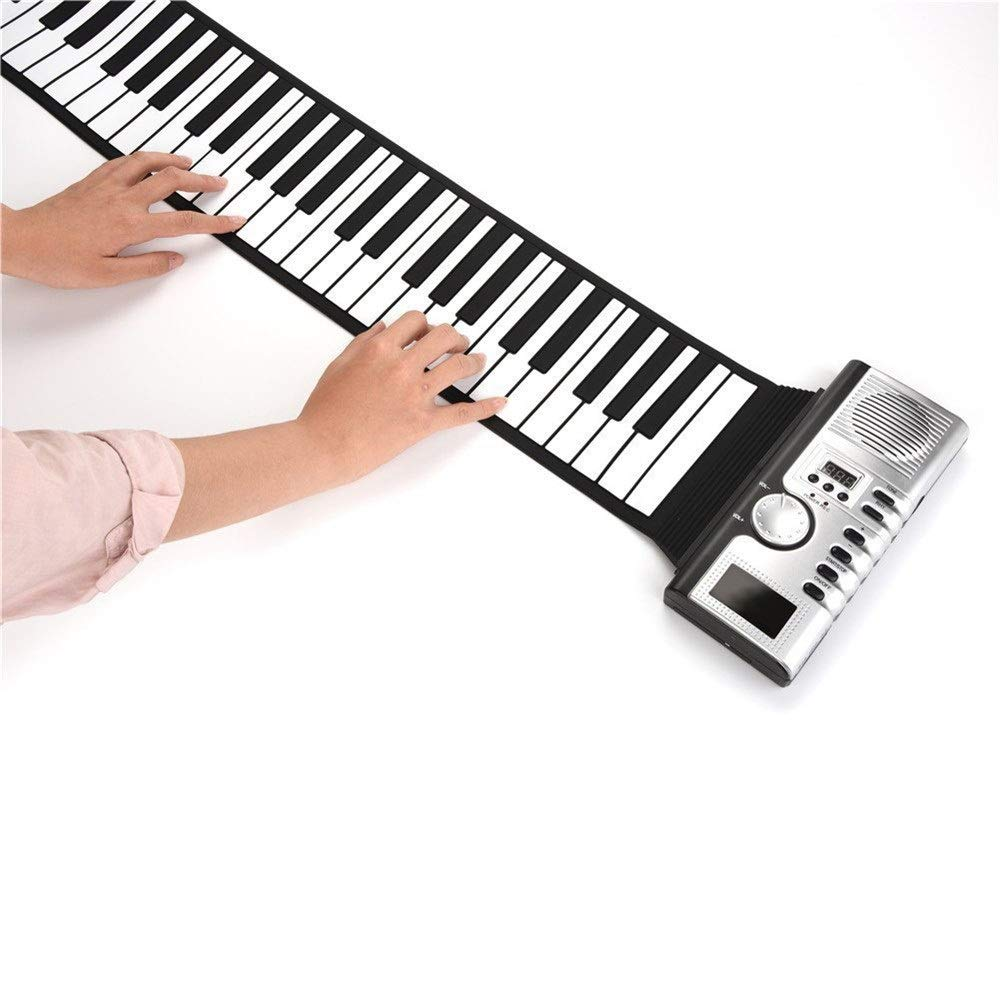 Electronic piano Electric Digital Roll Up Keyboard Piano Soft Silicon 61 Thickened Keys Flexible Foldable With Recording Programming Play Functions USB MIDI Output LCD Display Built-in Speaker Headpho by Shenghua1979-MU
