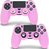 Sofunii 2pcs Pink Skin for PS4 Controller, Anti-Slip Silicone Case Protector Cover with 4 Cat Claw Thumb Grip Caps…
