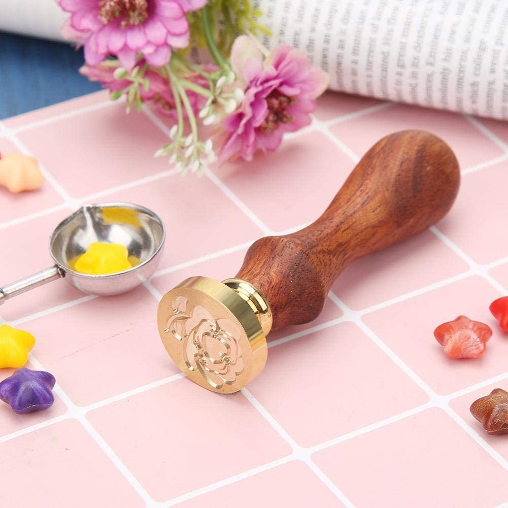 25mm 30 25 Antikes Metall 90 Siegelstempel mit antikem Wachs Rosen und Holzgriff