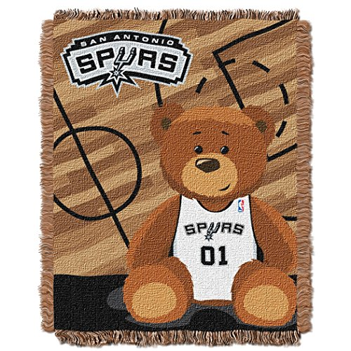 San Antonio Spurs Blanket (Officially Licensed NBA San Antonio Spurs Half Court Woven Jacquard Baby Throw Blanket, 36