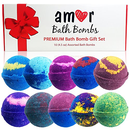 AMOR 10 Bath Bomb Gift Set : Essential Oils Lush Bath Bombs Set In Deluxe Package/100% Organic Vegan USA -Handmade Bath Fizzies Spa Skin Hydration & Wellness / Great Gifting Idea kids bath bombs