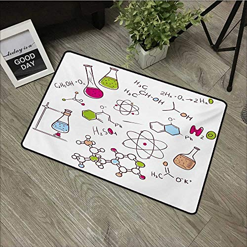 Interior mat W31 x L47 INCH Educational,Doodle Style Hand Drawn Chemistry Composition with Atom Molecules Flask,Green Blue Pink Natural dye printing to protect your baby's skin Non-slip Door Mat Carpe
