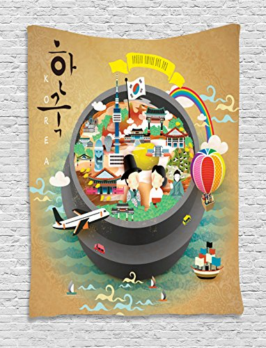 Ambesonne Korea Tapestry, Traditional South Korean Motifs Inside a Khimchi Hot Pot Tourist Attractions Cartoon, Wall Hanging for Bedroom Living Room Dorm, 40 W X 60 L Inches, Beige Green ()