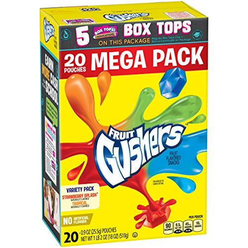 Betty Crocker Gushers Variety Pack of Strawberry Splash and Tropical Flavors Mega Pack 20 - 0.9 oz Pouches