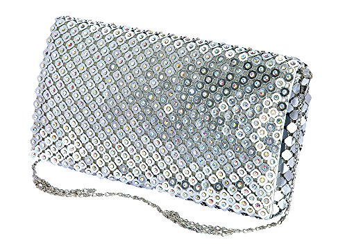 De Blossom Collection HB-56 Glitter Rhinestone Metal Mesh Bridal Party Prom Clutch Bag Purse Silver