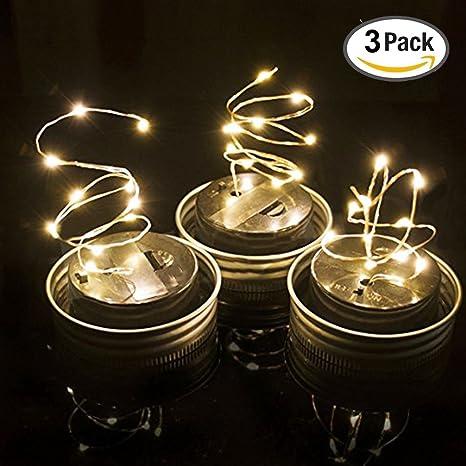 3 unidades – Mason tarro con luces LED blanco cálido Solar, Solar guirnalda de luces