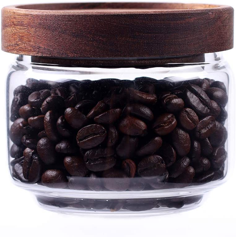 Glass Coffee Containers, 8.5 FL OZ/250 ml Kitchen Serving Food Storage Canister with Sealed Wooden Lid, BPA-Free Clear Glass Jar for Tea Leaves, Powder, Spice,Weed(3.06 inch)