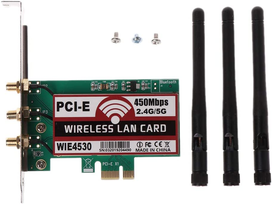 Ontracker WiFi Card WLAN Stick 450Mbps Wireless WiFi Network Card PCI Express Adapter Desktop Card for Int-EL 5300 with Compatible PCI-E Slot X1 / X4 / X8 / X16
