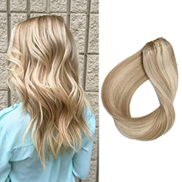 Amazon Com 20 Clip In Extension Remy Human Hair Beige Blonde To