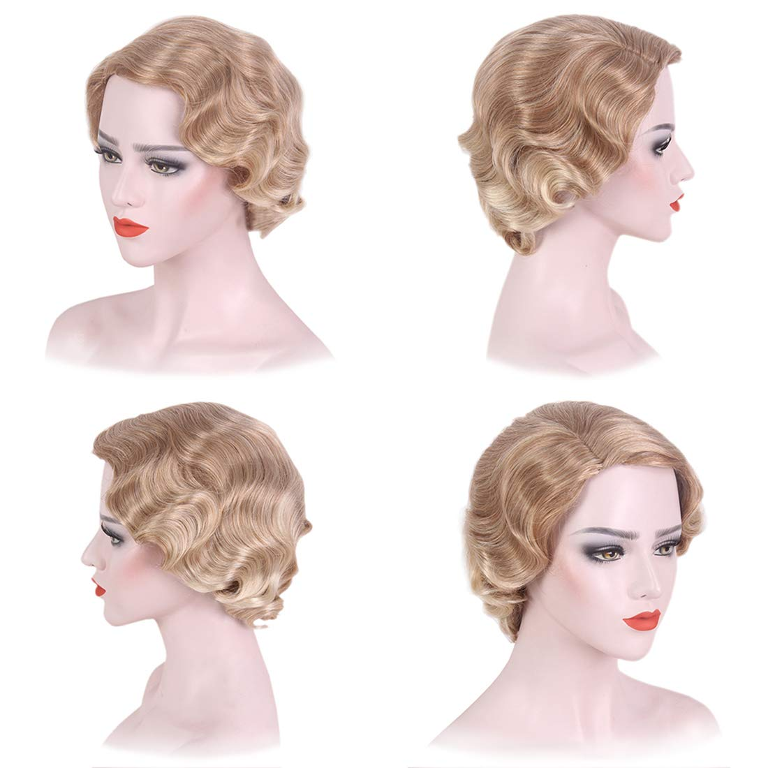 1920s Flapper Headband, Gatsby Headpiece, Wigs STfantasy Finger Wave Wig 1920s Flapper Ombre Blonde Women Cosplay Costume $25.99 AT vintagedancer.com