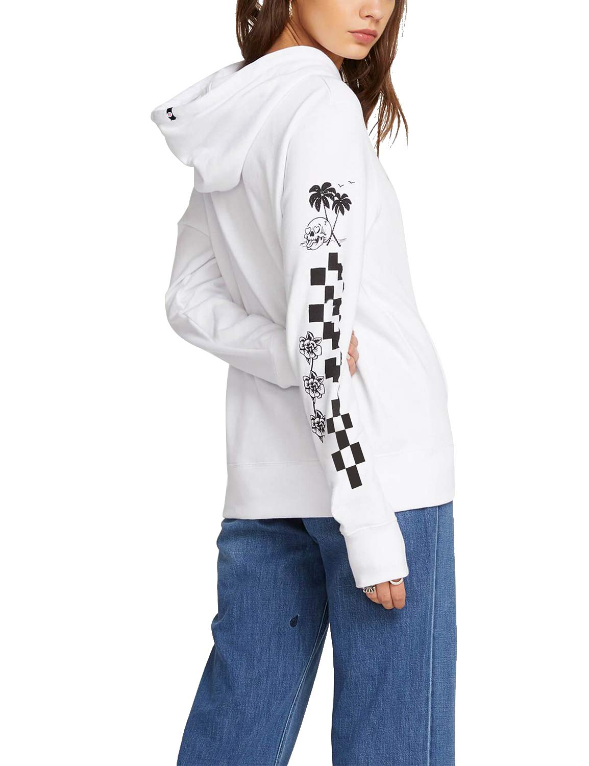 Blooming Jelly Women's Pineapple Letter Print Long Sleeve Pullover Hoodie White