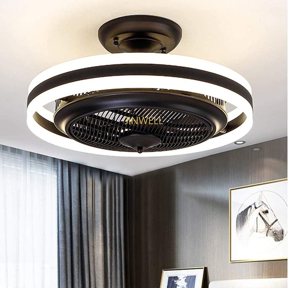 El ventilador invisible nueva lámpara LED de techo de la habitación ventilador de la lámpara se enciende anión restaurante minimalista moderna sala de estar, con un ventilador remoto,White with black