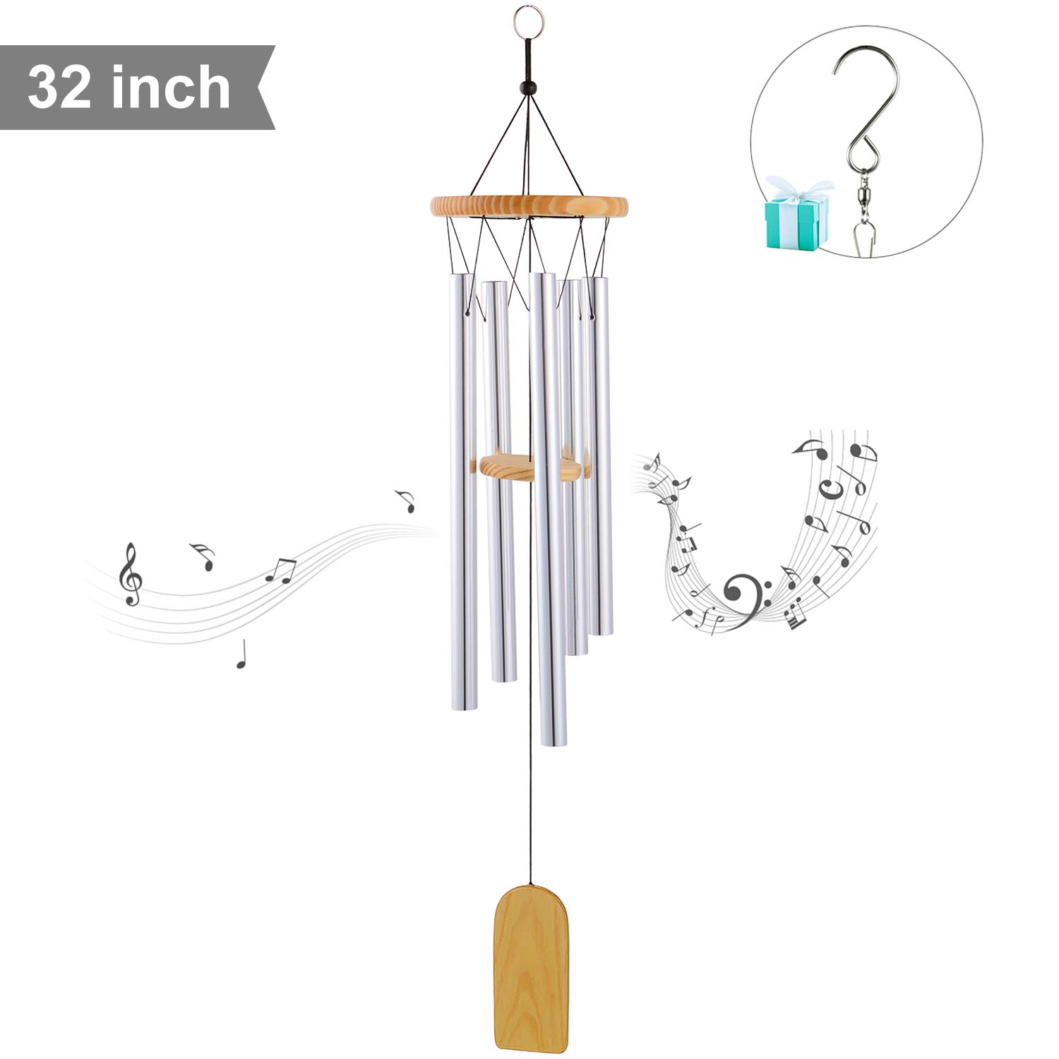 Wpky Beautiful Tune Wind Chime, Elegant Metal Design Musical Windchime with Sweet Sound, Perfect Decor for Garden, Patio, Balcony Outdoor & Indoor